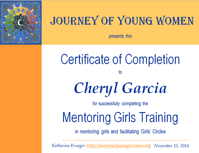 mentoring girls certificate training